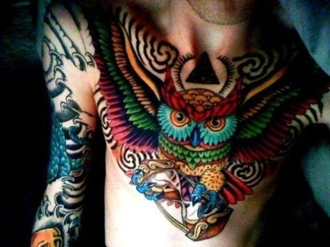 A-colorful-and-creative-bird-tattoo-of-an-owl-holding-an-hourglass-symbolizing-wisdom-and-time