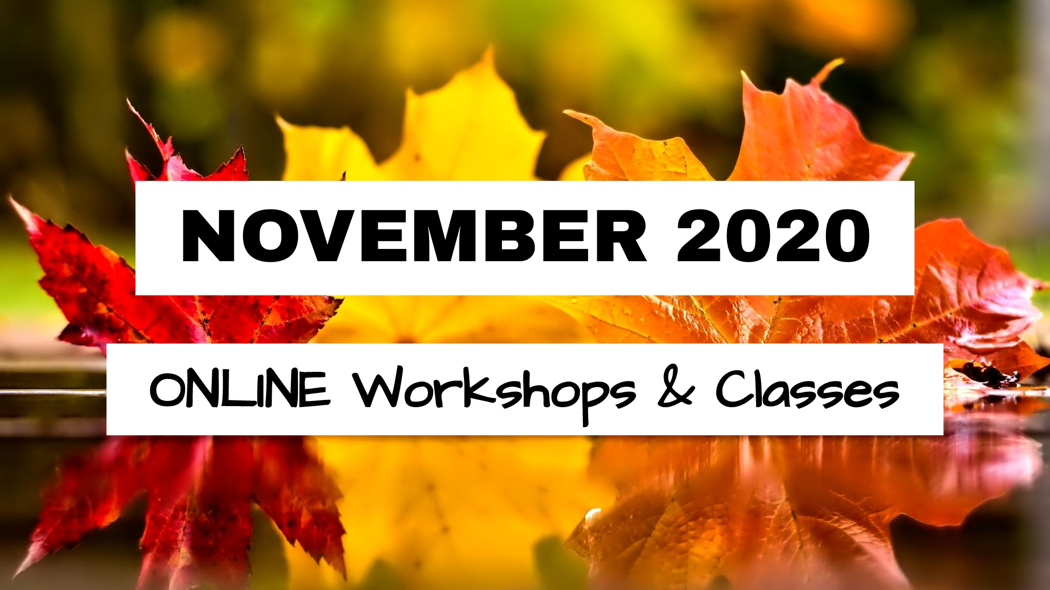 NOVEMBER 2020 – ONLINE Workshops & Classes